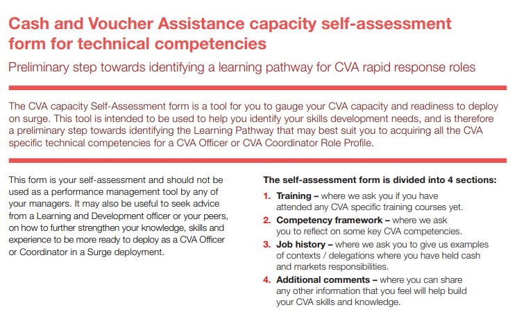 Cash and Voucher Assistance capacity self-assessment